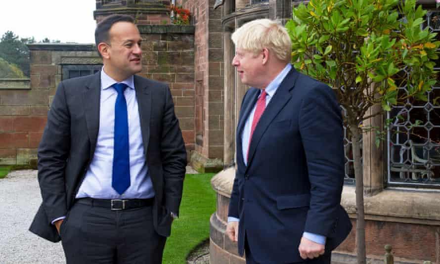 Boris Johnson met the Irish taoiseach, Leo Varadkar, for talks on Wednesday