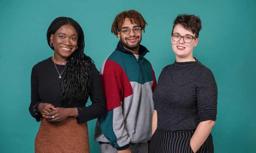 Scott trust bursary students (left to right): Tobi Thomas, Alex Mistlin, Rhi Storer. Photo by Linda Nylind.