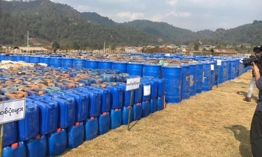 Barrels of precursor chemicals used to make drugs such as methamphetamine, ketamine, heroin and fentanyl seized by Myanmar police and military in Shan State.