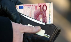A €10 note in a wallet