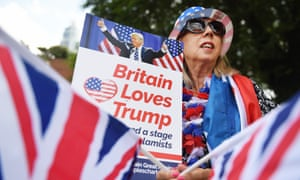A Trump supporter outside the US Embassy in London