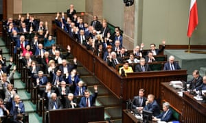 Members of the Polish parliament taking part in a vote on Thursday