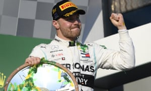 Valtteri Bottas celebrates after winning the Australian Formula One Grand Prix in Melbourne.
