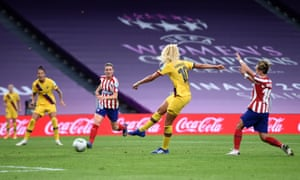 Kheira Hamraoui drives in a low shot to put Barcelona ahead.