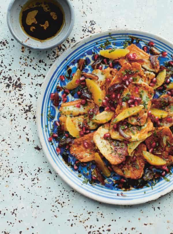 Seared halloumi with orange, dates and pomegranate.