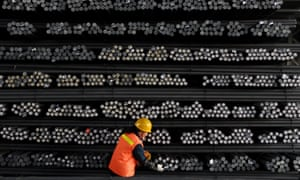 A worker at a steel and iron factory in Huai'an, Jiangsu province, China