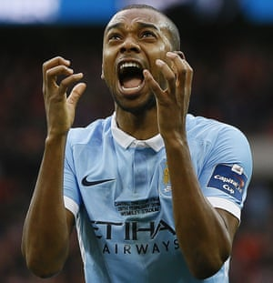 Manchester City's Fernandinho screams with frustration but is lucky not to have had a yellow card in the match.