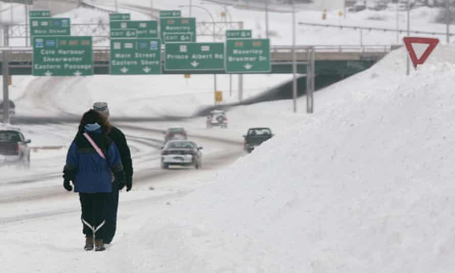 Blizzard make sidewalks unusable in Dartmouth, Nova Scotia.