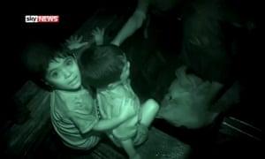 Rohingya children on the boat with Alex Crawford, Rakhine state