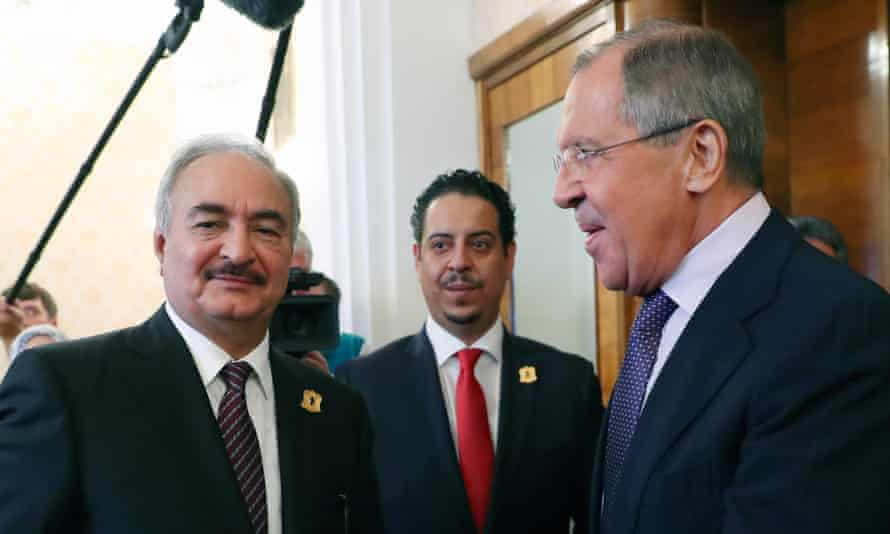 Khalifa Haftar, left, with Russia's foreign minister, Sergei Lavrov, in Moscow in 2017.