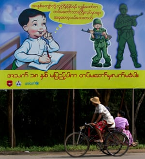 A billboard in a Yangon suburb discouraging recruitment of children for the Myanmar military.