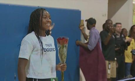 Coco Gauff, 15, enjoys homecoming celebrations after dream Wimbledon run – video
