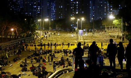 Protesters at the Chinese University in Hong Kong set up barricades outside the occupied campus.