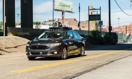 A pilot model of Uber's self-driving car in Pittsburgh.