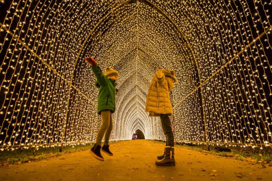 Two children in Kew Gardens Christmas illuminated trail