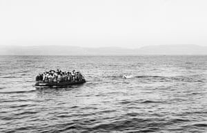 A boat of Syrian refugees