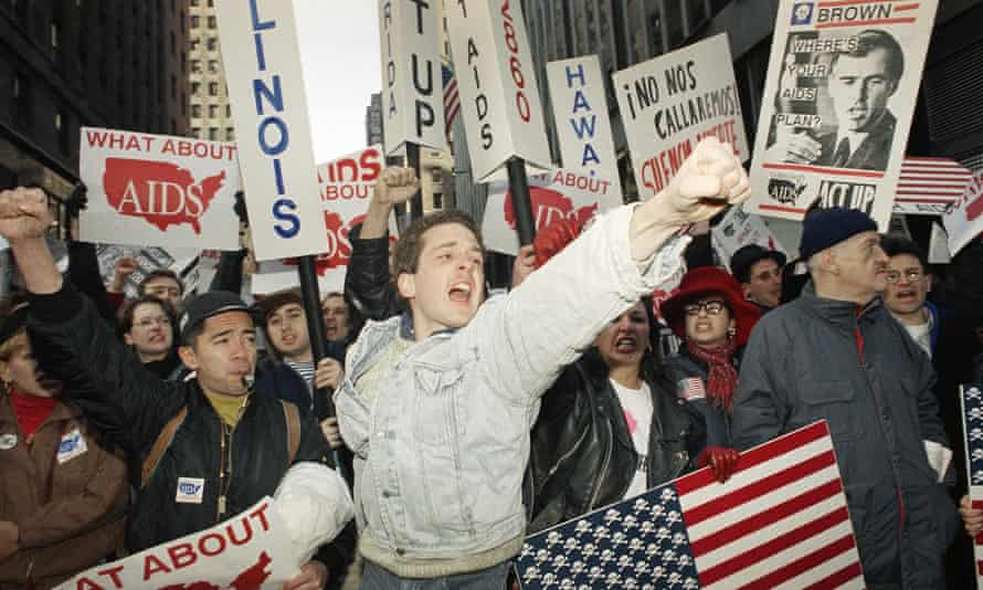 An Act Up march in Times Square, New York, in April 1992.