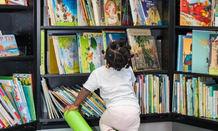 A child choosing story books