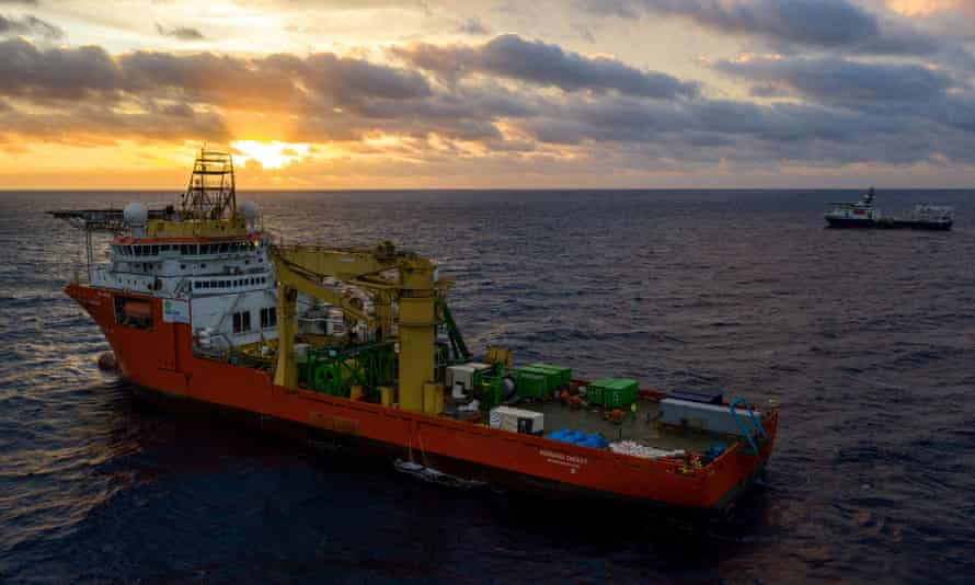 A ship trialling deep-sea mining in the Pacific Ocean.