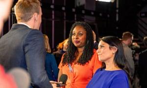 Dawn Butler (centre) alongside Priti Patel in the 'spin room' after last night's ITV leaders' debate.