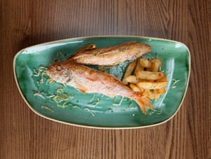 Melusine's red mullet and chips.