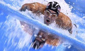 Michael Phelps competing in the men's 200m individual medley final at the 2016 Olympic Games in Rio