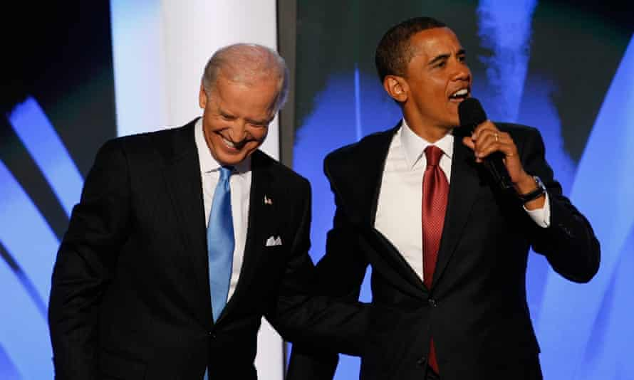 Biden with Obama at the national convention in 2008.