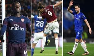 Eddie Nketiah of Arsenal; Andy Carroll of West Ham; Chelsea's Cesc Fabregas