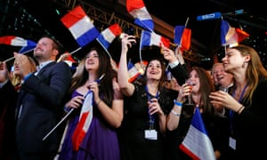 Supporters of the French far-right National Rally party