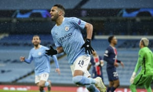 Manchester City's Riyad Mahrez celebrates after scoring his side's second goal.