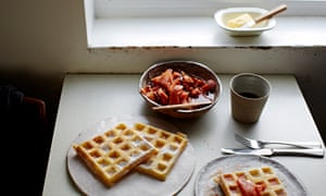 Yeasty breakfast waffles and panettone baked french toast
