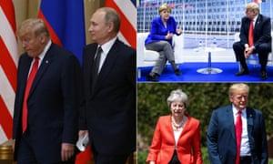 Trump with European leaders, Putin, Merkel and May