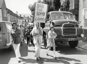 Local resident Vera Lynn joins villagers in Ditchling, East Sussex to protest against heavy lorry traffic through the countryside