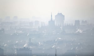 Pollution over Milan in northern Italy