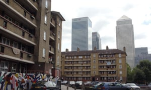 London Canary wharf and council houses