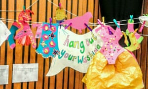 Hang out your washing with Caroline Holden and Elli Narewska, at Guardian cartoon and art family day, 10 October 2015.