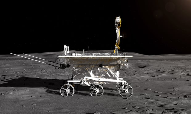 An artist's impression of Chang'e-4's lunar rover on the moon.