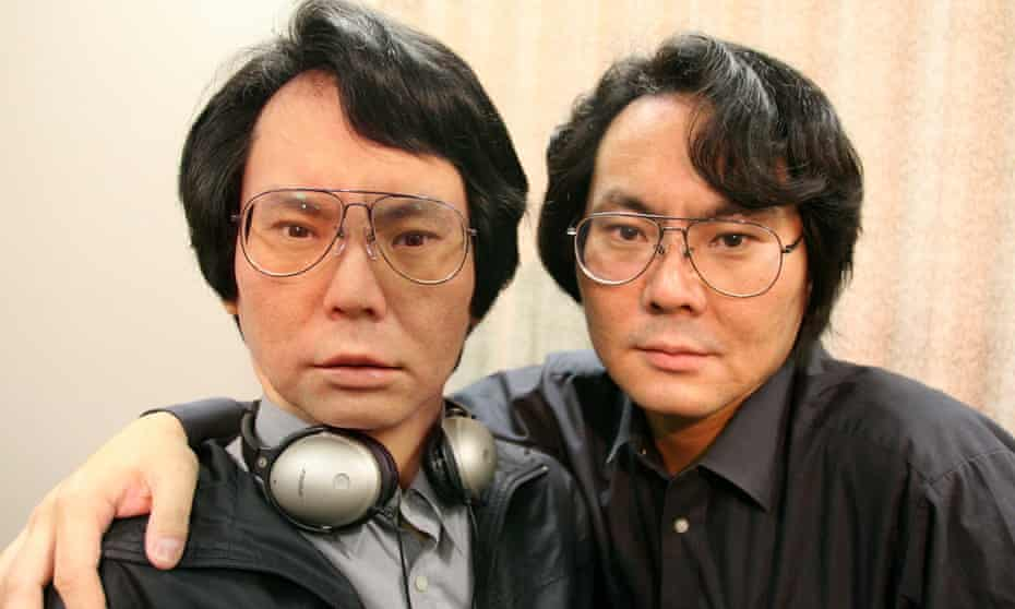 Robotics scientist Prof Hiroshi Ishiguro with 'Geminoid', a prototype of a doppelganger-type android modelled on himself.