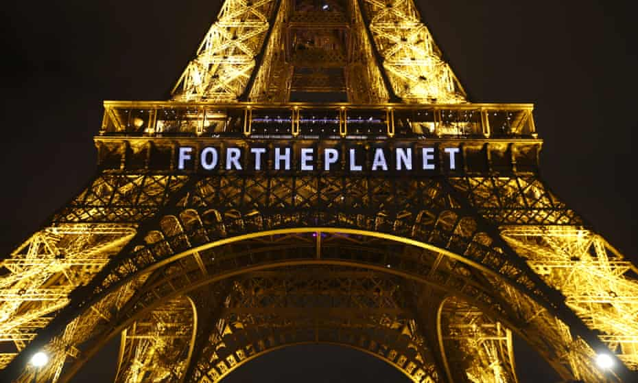 The Eiffel Tower during the United Nations climate change conference in Paris, December 2015.