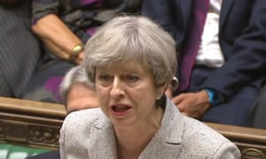 Theresa May speaks at the dispatch box