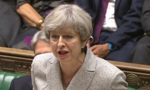Theresa May speaks at the dispatch box in the House of Commons