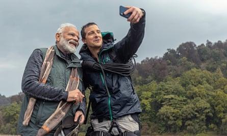 Bear Grylls and Narendra Modi take a selfie.