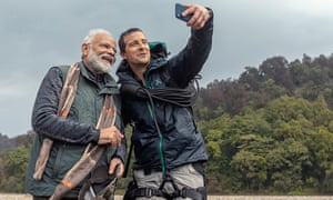 Two chest-beating men failing to listen to each other … Narendra Modi and Bear Grylls.