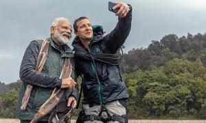Narendra Modi with the TV survivalist Bear Grylls