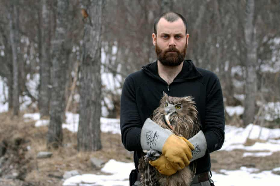 Jonathan Slaght holds a Blakiston's fish owl in his arms. He is one of a handful of researchers studying this massive raptor, which is threatened by human activity.