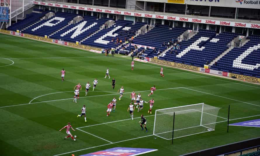 Preston host Stoke at an empty Deepdale last month. Championship clubs say their biggest concern is the current financial 'cliff edge' below the Premier League.