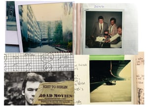 Berlin scrapbook … film publicity shots and Petit's scribbled-on Polaroids taken for continuity