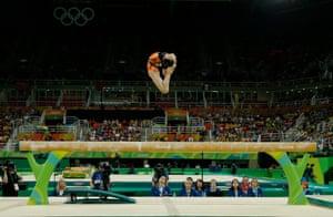 Fan Yilin of China during the women's beam apparatus final