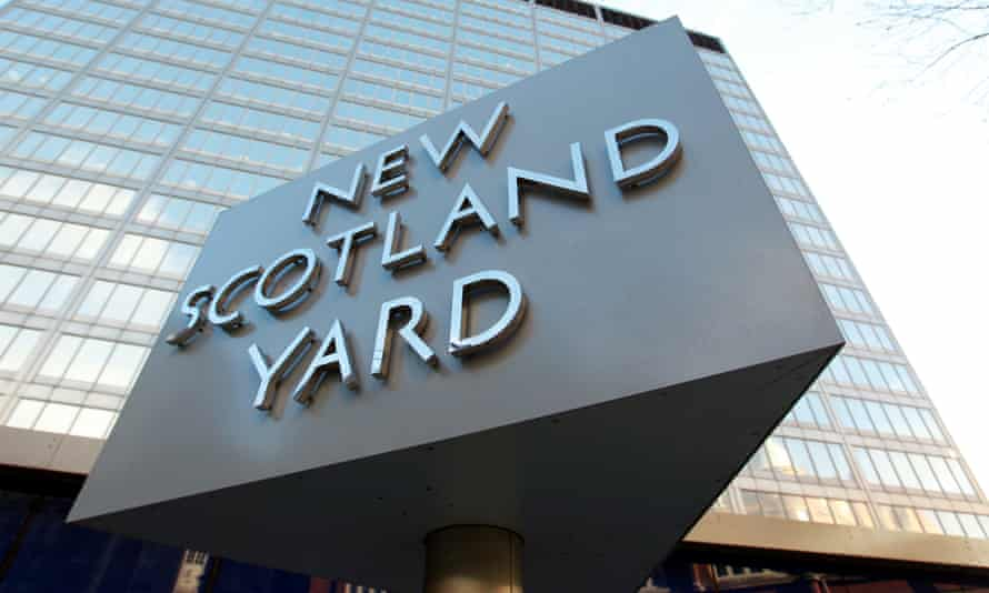 The New Scotland Yard building in London.