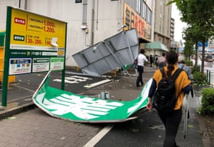 Collapsed steel advertising boards caused by Typhoon Faxai in Edogawa, Tokyo.